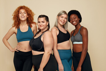 Diversity. Group Of Women Of Different Race, Figure And Size Portrait. Smiling Multi-Ethnic Female...