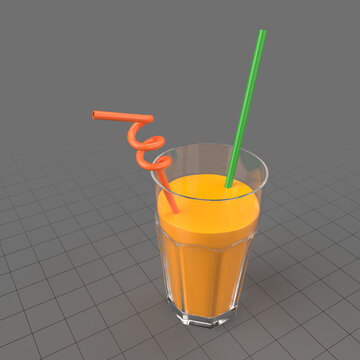 Orange juice with straws