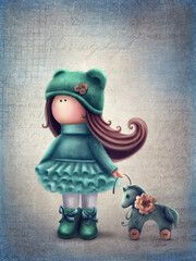 Cute doll with a horse