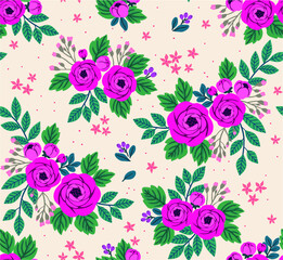 Floral seamless pattern with roses in vintage style. Surface design of  flowers and leaves on a white background. A bouquet of spring flowers for fashion prints. Modern floral background.