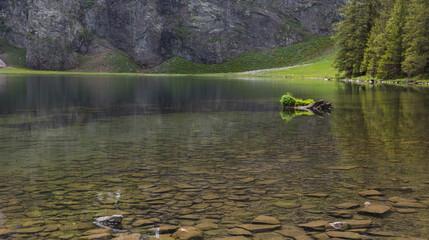 Spiegelung im glasklarem Wasser.