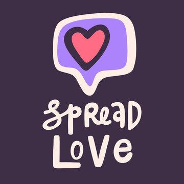 Spread love. BLM. Black lives matter 2020 sticker. Social media content post banner anti racism.