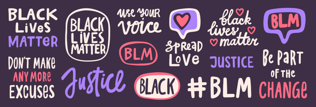 BLM. Black lives matter 2020 sticker set collection. Social media content post banner anti racism.