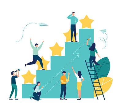 vector illustration on white background. the best estimate of performance, the score of five points. people leave feedback and comments, successful work is the highest score. - Vector
