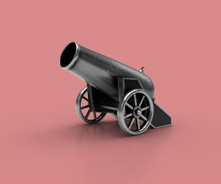 Ancient cannon. 3d Illustration of vintage cannon on a pink background. Medieval weapons for your design