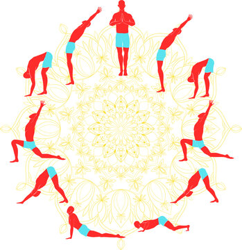 Yoga practice surya namaskar or Salute to the Sun or Sun Salutation. vector drawings of all 12 asanas with mandala on background.