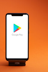 Belgorod , Russia - MAY, 29, 2020: smartphone with Google play store logo are competitors in an ever growing market of applications for mobile phones and tablets.