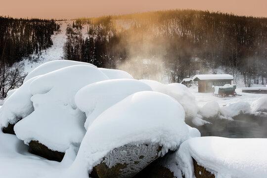 People Soaking in The Hot Springs,Chena Hot Springs,Alaska,USA