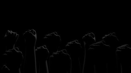 Black fists on black background with rim. Side view. Black Lives Matter. Blackout. Social justice concept. 3D render.