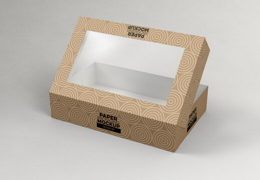 Open Flip Lid Box with Window Mockup