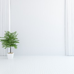 White minimalist room interior with furniture on a wooden floor, frames on a large wall, white landscape in window. Home nordic interior. 3D illustration