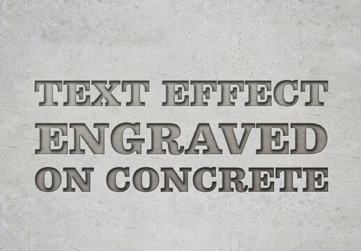 Engraved Metal Text Effect with Concrete Background
