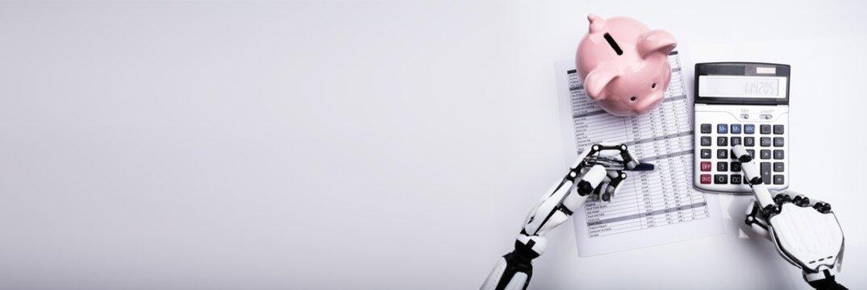 Robot Examining Financial Report With Calculator