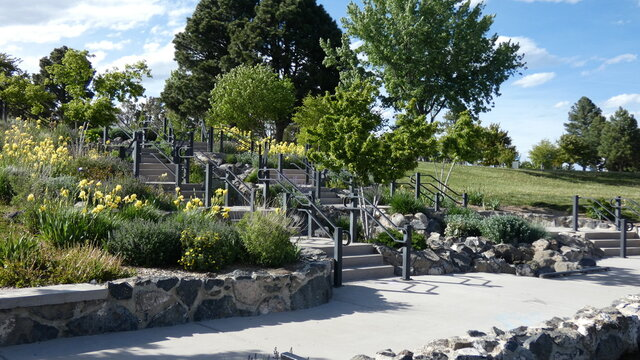 Park with trees, stairs and a boardwalk in Los Alamos, New Mexico