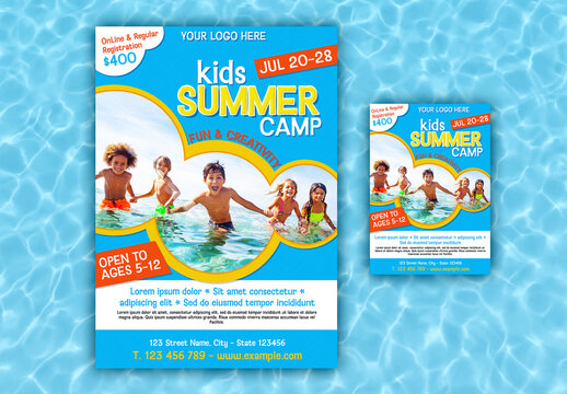 Kid's Summer Camp Poster and Flyer Layout Set