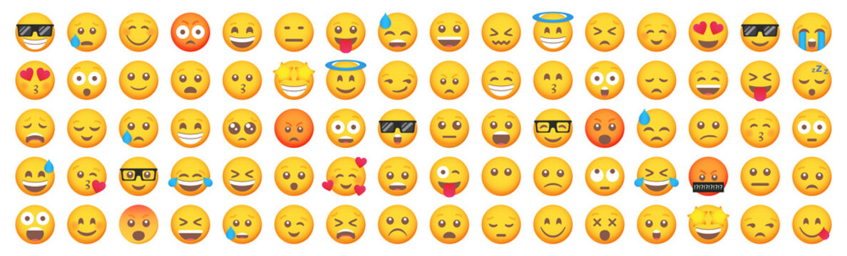 Big set of emoticon smile icons. Cartoon emoji set. Vector emoticon set