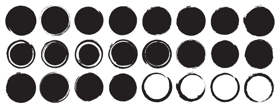 Set of black grunge circles shapes on a white background. Paint brush stamp collection