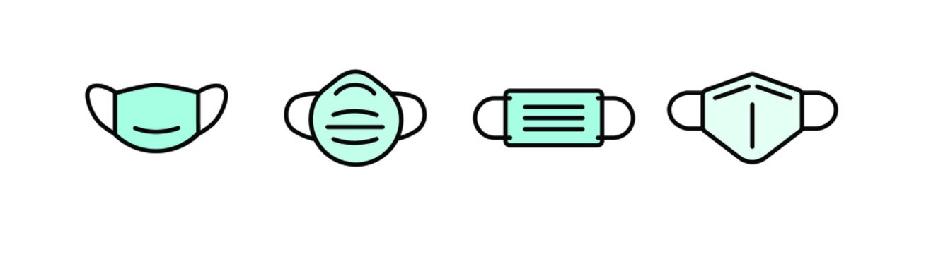 face mask set of icon, face mask