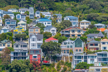 Traditional residential houses at Mount Victoria in Wellington, New Zealand