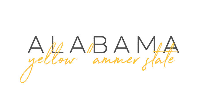 Alabama Yellow Hammer State Handwritten Calligraphy Vector Sign Text Illustration Background