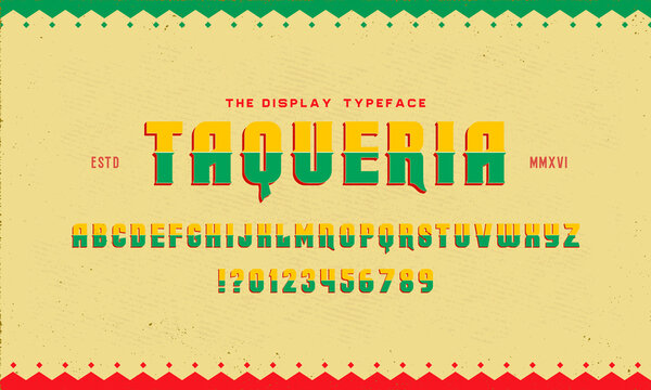 """Vintage Textured Typeface Duo with Mexican Flavor """"Taqueria"""". Part One - Inline Style."""
