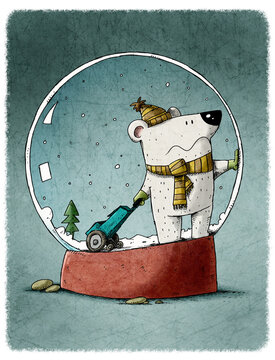 funny polar bear is inside a crystal snowball and wants to get out