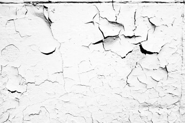 Close-up, Macro View of Cracked Paint.  White Cream. Abstract Texture Background.