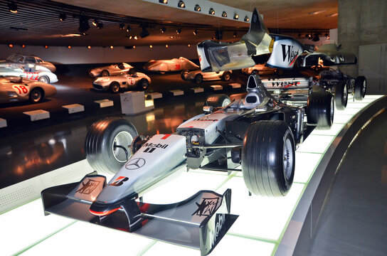 Racing sports Mercedes cars associated with the brand are presented in the Mercedes-Benz museum in Stuttgart