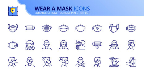 Simple set of outline icons about wear a mask. COVID-19 prevention
