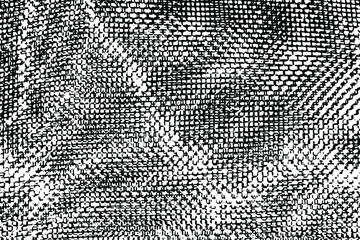 Grunge texture of uneven crumpled mesh fabric. Monochrome urban background of an old damaged textile surface with stripes, spots, noise and grain. Overlay template. Vector illustration