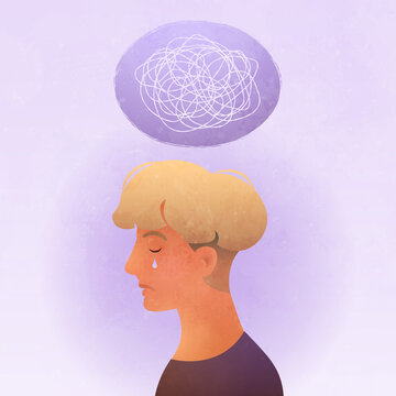 Anxiety, Obsessive compulsive, ADHD, and Mental disorders concept. Closeup sad young man with a nervous breakdown thoughts above the head. Conceptual vector illustration.