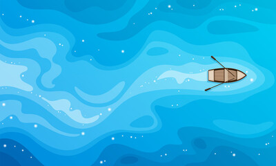 Fototapeten Blau Tropical blue sea top view and a wooden boat vector background.