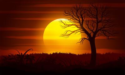 Deurstickers Bruin Sunset landscape with a dead tree silhouette.