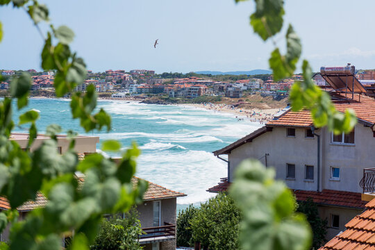 Window view on the Sozopol beach from the acomodation close to the beach. Bulgaria