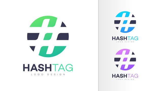 Hashtag. Hash Tag Colorful Icon Emoji Modern Professional Logo Design Vector Template