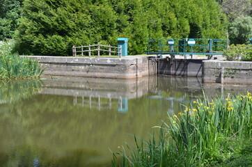 Canal de Nantes à Brest, écluse de la Maclais, Bretagne, west of France