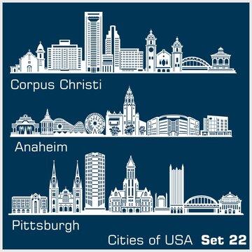 Cities of USA - Corpus Christi, Anaheim, Pittsburgh. Detailed architecture. Trendy vector illustration.
