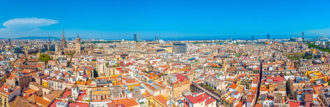 Aerial view of the old town Barcelona with tower of the cathedral, Spain