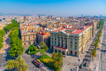 Fototapeten Barcelona Aerial view of military government building in Barcelona, Spain