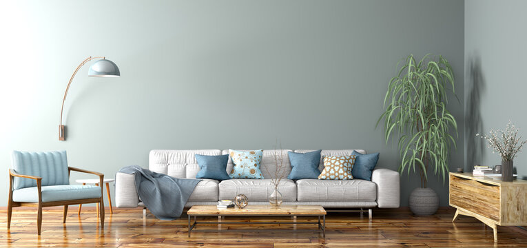 Interior design of modern apartment, living room 3d rendering