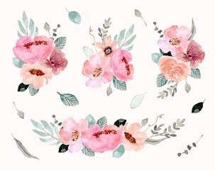pink green flower arrangement watercolor collection
