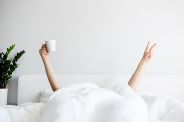 good morning concept - female or male hands with coffee mug and victory sign sticking out from the blanket