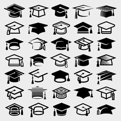 Graduation cap set. Collection icon graduation cap. Vector