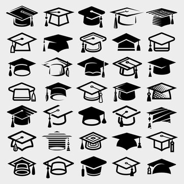 Graduation cap set. Collection icon graduation cap. Vector