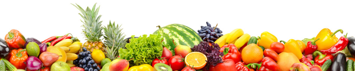 Wall Mural - Seamless horizontal pattern fresh and juicy vegetables, fruits and berries isolated on white