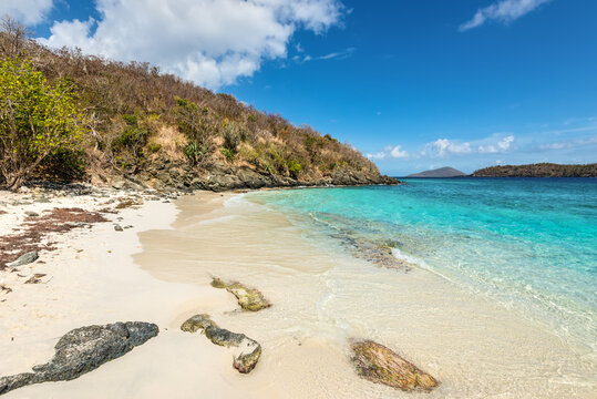 Landscape at Coki Bay in St Thomas, American Virgin Islands, Caribbean. Summer Vacation Travel Concept.