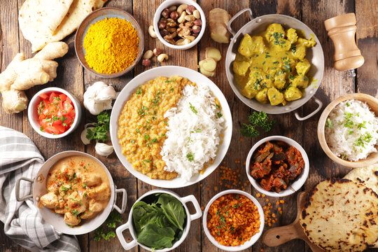 assorted indian food cuisine- curry food,rice, chicken assorted