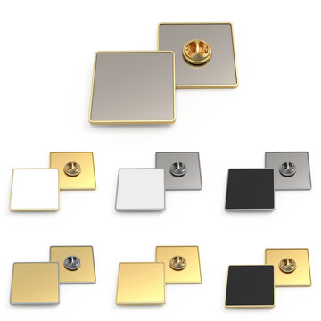 Empty metal square brooch. 3d mockup, template for presentation of company logo. Front and side view. Lapel badge on a pin. Set of gold and silver color with white, black, metal background.