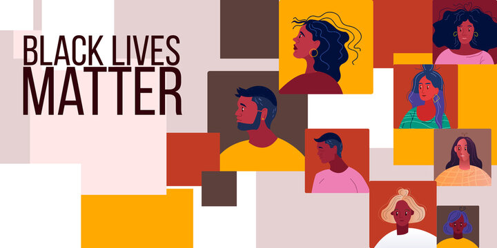 No racism abstract background with young black women and men faces. Black lives matter banner with multinational people united against racial discrimination. Vector illustration in flat style