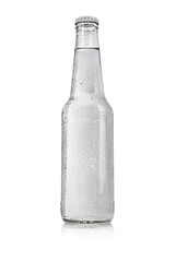 Fototapeta Transparent glass bottle with water without label isolated on white. obraz